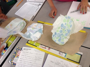One team was actually pretty organized with their diapers!  They even labeled each diaper brand on the paper towels.