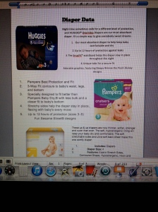 Diaper Data- information on the three brands of diapers to be tested