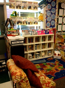 Love the addition of the chair to the library.  The kids still love reading on the couch and in the reading cave, but another sitting spot is always needed.