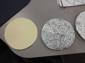 First, create a circular template to fit your stained glass design.  Trace circles onto a file folder to cut out.  Do not use regular paper--too flimsy!