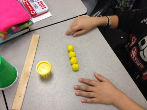 Fractions with playdoh.  Led nicely  into equivalent fraction discussion.