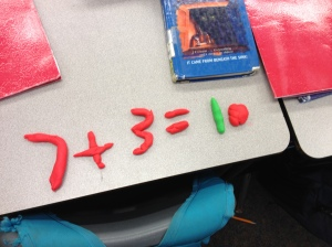 These kids could NOT understand how to show this equation with the playdoh!  They could not see this pictorially.