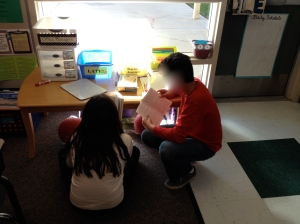 Kids working with reading partners-novel unit