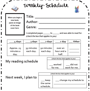 Weekly schedule for Reader's Notebook to hold st. accountable