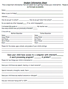 This student information sheet is sent home the first day of school.  I have condensed all crucial info. to one sheet of paper.  The parent contact log is then copied on the backside to be used as needed throughout the year.