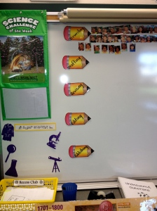 Take pics of your students. Slap a magnet on the back and voila!  The students move their head to mark which stage of the writing process they are in.  A perfect visual for both st. and tchrs.