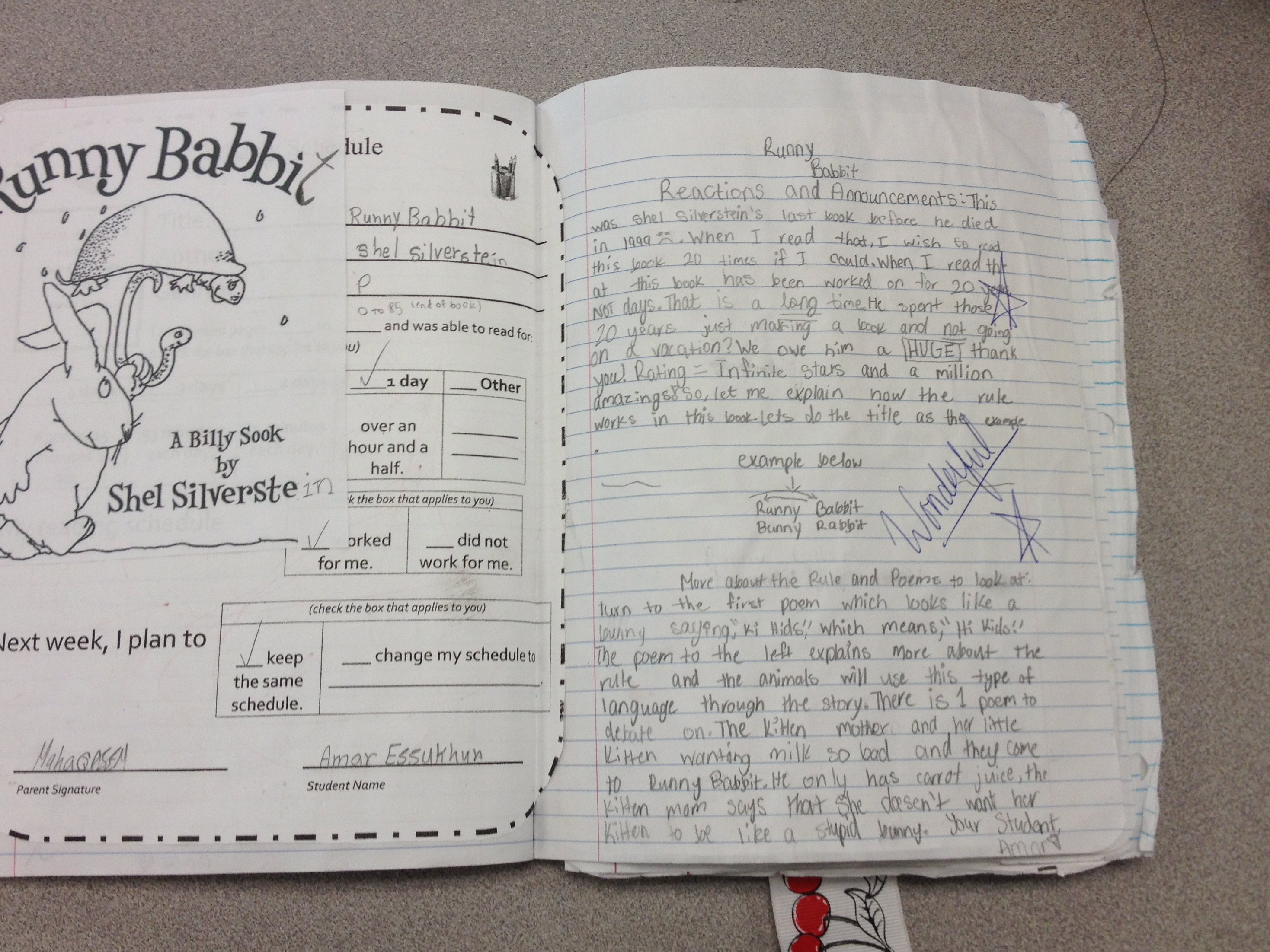 St. sample of reader's notebook
