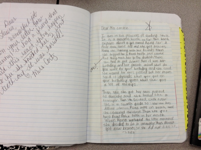 St. sample of tch response in reader's notebook