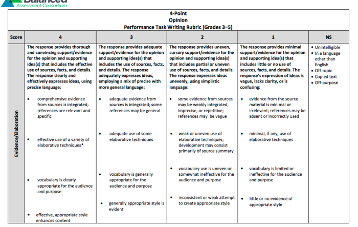 Act essay rubric